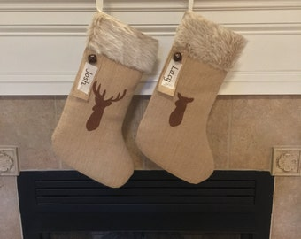 Burlap Christmas Stocking Set of Two
