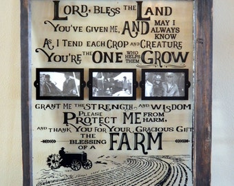 Farmer's Prayer on antique window with picture frames
