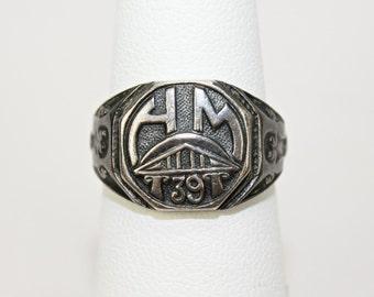 Vintage Art Deco Era Ladies Class Ring 925 Sterling Silver HM '39 Octagon Top Area  Size 5.5 c1939