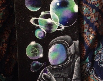 Astronaut blowing bubbles painting