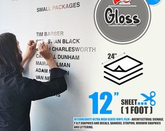 "25 Sheets 24"" x 12""Glossy Self Adhesive Sign Wall Craft Vinyl for Cricut, Cameo 43 colors"