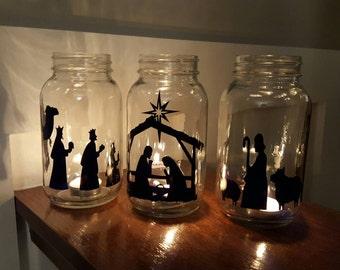 Vinyl Nativity Scene, Mason Jar Nativity, Christmas Nativity Craft, DIY Vinyl