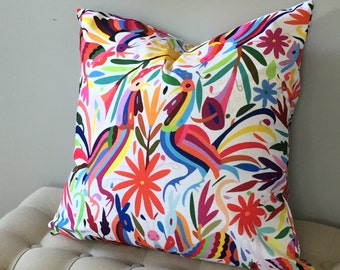 """SALE Colorful Otomi 20"""" Throw Pillow Cover, Boho/Ethnic Mexican Animal & Nature Print Pillows or Covers"""