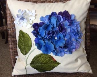 Outdoor Pillow Cover, Sun Shade Pillow, Hydrangea Pillow, Purple Floral Applique, Blue Flower Pillow, Outdoor Wedding Decor, Water Resistant