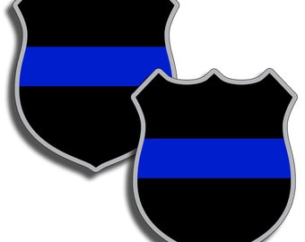 Support Police - Thin Blue Line Sticker Badge Vinyl Sticker Decal - Back The Blue Law Enforcement USA Sheriff Officer
