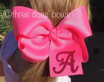 "6"" x large Boutique Bow - X large Boutique Hair bow with Initial - XL Monogrammed Bow - X large Monogram Bow - Extra Large Monogram Bow"