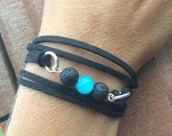Lava Bead Diffuser Bracelet   Essential Oil Diffuser Jewelry   Vegan Aromatherapy Bracelet   Boho Wrap Bracelet