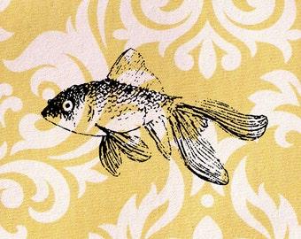 Fish Stamp: Wood Mounted Goldfish Rubber Stamp