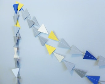 Multi-Color Blue Gray Yellow Ivory Triangle Tribal Geometric Paper Garland | Home Decor | Geometric Party Decor