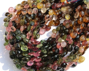 4 Inches 6 -8 mm 27 Pcs Natural Multi Tourmaline Faceted Heart Briolette / natural multi tourmaline gemstone beads
