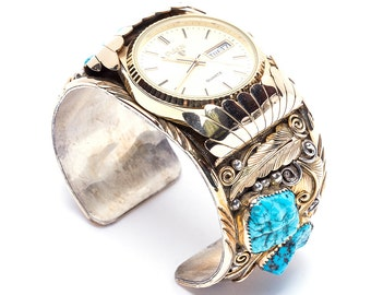 Vintage Navajo Gold Fill Watch cuff with Pulsar Watch face