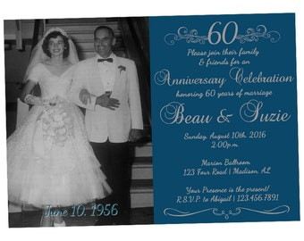 60th anniversary invitations – Etsy