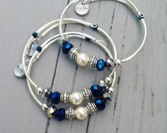 Swarovski Pearl Memory Wire Bracelet