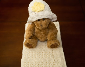 Hand Made White And Yellow Crochet Baby Blanket with Bonus Matching Hat