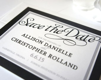 Black and White Save the Date Card - Save the Date Cards, Black and White, Save the Date, Modern - DEPOSIT