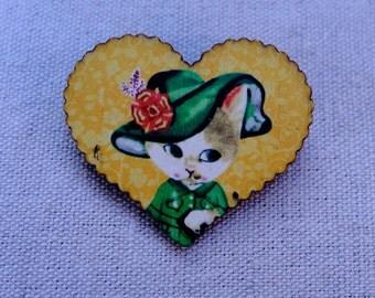 Heart Cat Brooch