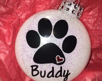Personalized Paw Print Dog Christmas Ornament