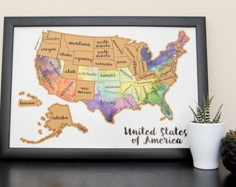 United States Of America Us Watercolor Art Scratch Your Travels Usa Map Poster Wedding