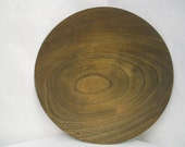 vtg wooden plate, tennessee wood, handcrafted plate, 8 inches round, heavily grained wood, woodworker art, primitive decor, vtg cottage art