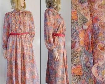 Vtg orange floral pretty midi dress 'Ara Ara' long sleeve nylon dress size medium