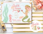 mermaid party-mermaid party invitation-printable invitation-mermaid party-pink-gold-DIY-mermaid party invitations-peach-mint