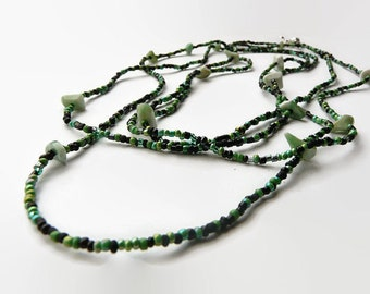 Long seed bead necklace. Jade chips. Jade green, emerald green and black seedbeads. Nice color mix in various tones.  OOAK necklace.