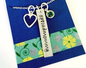 Proud Mommy, Hashtag Necklace, Mom Necklace, Birthstone Necklace ,Mom Gift, Personalized Mommy Necklace, Mom Jewelry