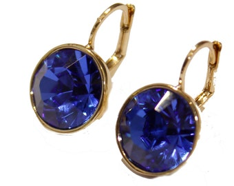 Swarovski Elements Tanzanite Blue Bella Earrings - Gold Plated Dangle Earrings with Lever Back Closure