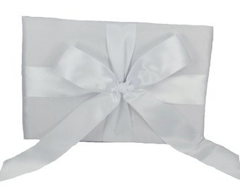 WHITE Wedding Guest Book with Silky Satin Bow Design