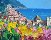 Positano Painting, Italy Original Landscape Painting, Oil on Canvas, Palette knife Art, Amalfi Coast Italian Painting, Gift for Mom Couples