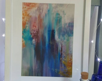 Oriental Blossom abstract art signed 1/25 limited edition print A4