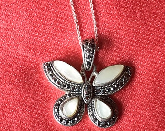 SALE BEAUTIFUL Vintage Genuine Marcasite Gemstone Butterfly Pendant Necklace, MOP Butterfly Pendant Sterling Silver Chain, Butterfly Jewelry