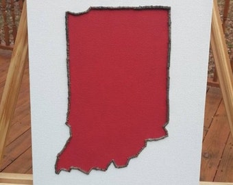 Indiana Art, Hoosier Art, Mosaic Art, Twig Art, Canvas Art, Hostess Gift, Housewarming Gift