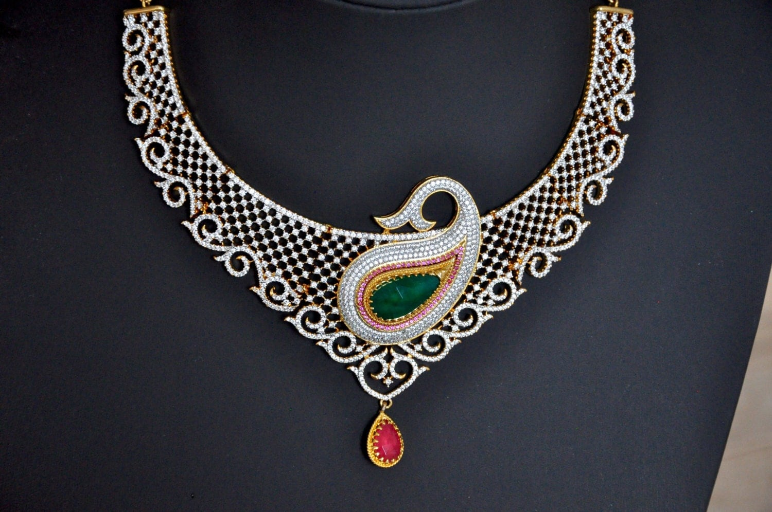 Sale 50% Off  American Diamond Bridal Indian Necklace Set With Ruby And  Emerald Stones  Indian Wedding Jewelry  Indian Bridal Jewelry