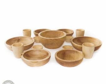Siberian Cedar Wood Ware SET for FOODSTUFF wooden BOWL Natural Cedar wood #N1