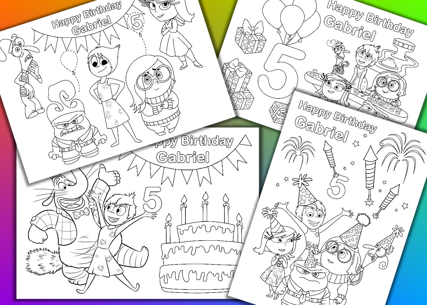 Inside out coloring book pages - Inside Out Birthday Party Coloring Pages Activity Pdf File