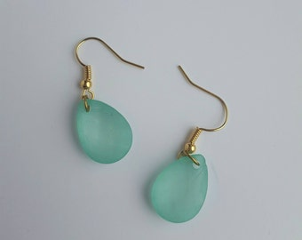 Jade sea glass style drop earrings with gold plated hooks
