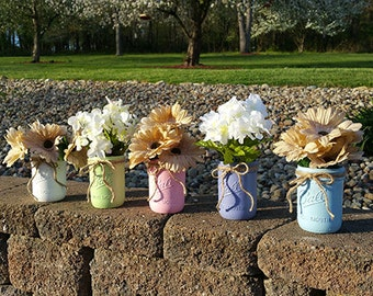 Set of 5 Painted Mason Jars.  Home Decor.  Country, Vintage, Shabby Chic, Rustic. Wedding.  Shower.  Gift.  Vase.  Centerpiece.