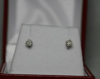 1/4 cttw Genuine Natural Diamond Stud Earrings  14K White Gold  FREE SHIPPING