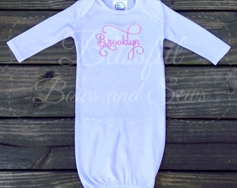 Monogram Baby Gown, Monogrammed Baby Girl Gifts, Monogrammed Baby Girl Clothes