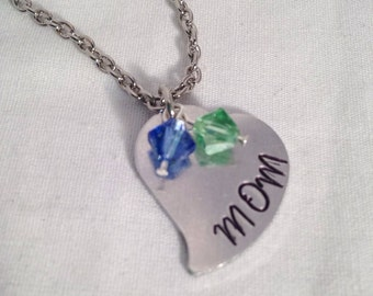 Mom neckalce, Personalized Handstamped necklace, hand stamped necklace, swarovski crystal necklace, mothers necklace, heart necklace