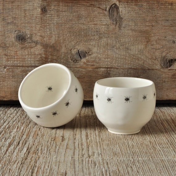 Set of 2 porcelain espresso / tea cup with vintage INSECT prints