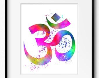 Om Symbol Yoga Art (401) Yoga Art Print, Yoga Artwork, Watercolor Painting