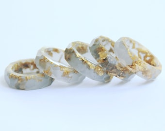 Smokey grey with gold flake faceted Eco resin stacking ring, band, engagement ring