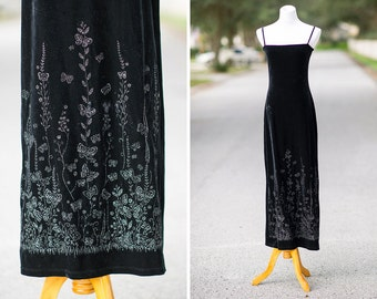 90s party dress black velvet Small XS glitter butterfly column butterflies spaghetti strap maxi long