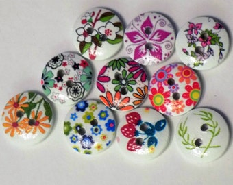10 Wooden Fruit And Flower Buttons - #WS-00059