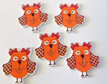 5 Orange And Brown Owl Buttons  #SB-00218