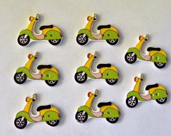 8 Wooden  Motorcycle  Buttons - #SB-00237