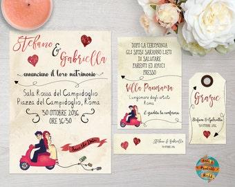 Wedding invitation set with confetti and thank you tags, vespa theme, printable, customizable
