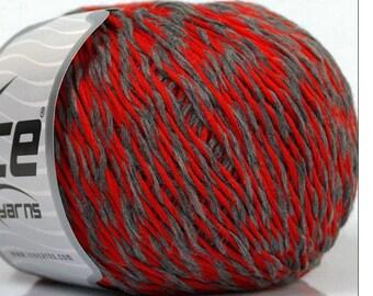 Wool Blend Yarn Red Gray Knitting Crochet